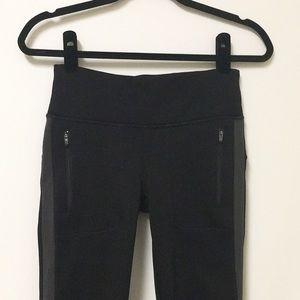Athleta black pants gray side stripe XS